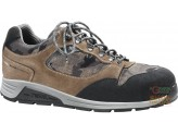 THE SHOE LOW IN THE CRUST BOVINE SCAMOSCITA WITH FABRIC INSERTS CAMOUFLAGE TOE CAP, ALUMINIUM FOIL FOR TEXTILE